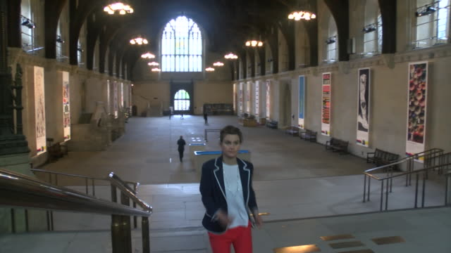sequence showing newly elected labour mp jo cox walking through westminster hall - jo cox politician stock videos and b-roll footage