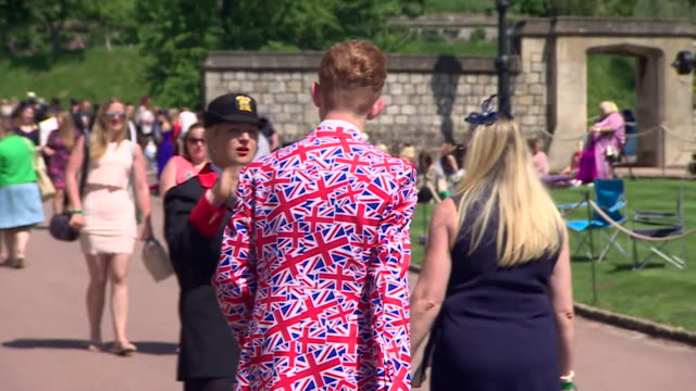 Sequence showing official spectators at Windor castle for the wedding of Prince Harry and Meghan Markle