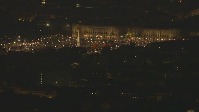 Sequence showing Paris' Place de la Concorde in the the Champs-Elysées area (8th arrondissement) at night, France.
