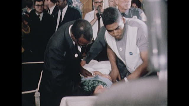 sequence showing people attending to the wounded robert kennedy following his shooting at the ambassador hotel - editorial stock videos & royalty-free footage