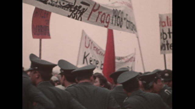 Sequence showing people in the city of Bonn protesting against the Russian led invasion of Czechoslovakia