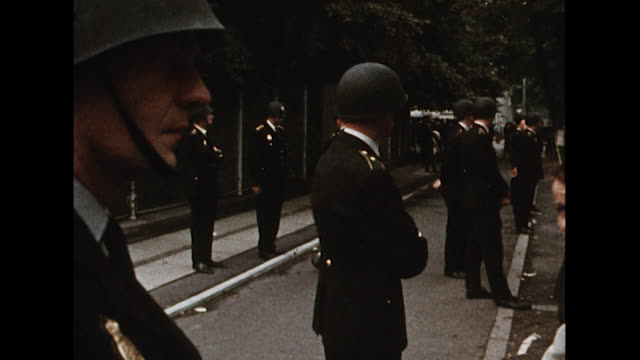 Sequence showing people in the city of Copenhagen protesting against the Russian led invasion of Czechoslovakia