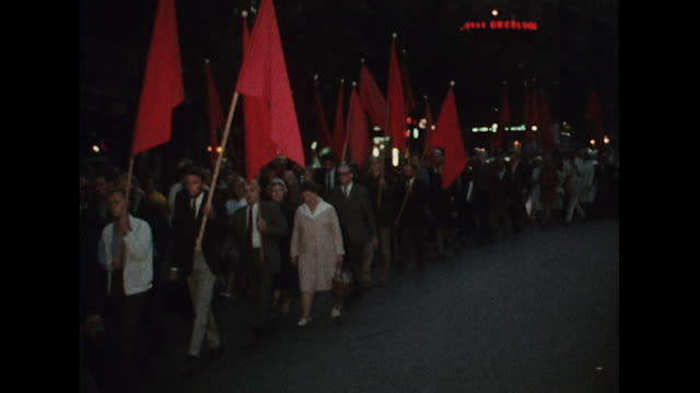 Sequence showing people protesting in Stockholm against the Russian led invasion of Czechoslovakia