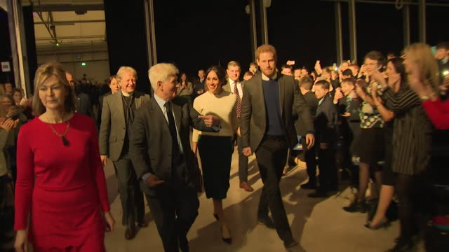 Sequence showing Prince Harry and Meghan Markle at a conference at the site of the former HM Prizon Maze in Lisburn County Antrim