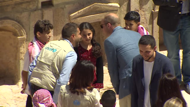 sequence showing prince william meeting syrian refugees in jerash jordan - palestinian stock videos & royalty-free footage