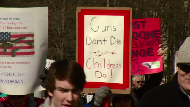 sequence showing protestors at the 'march for our lives' anti gun rally in washington dc, usa - gun stock videos & royalty-free footage