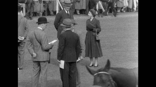sequence showing queen elizabeth talking to various people during her trip to doncaster race course for the st leger racing festival. - 競走馬点の映像素材/bロール
