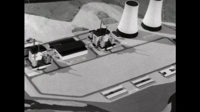 sequence showing scale models of calder hall and dounreay nuclear power stations. - nuclear power station stock videos & royalty-free footage