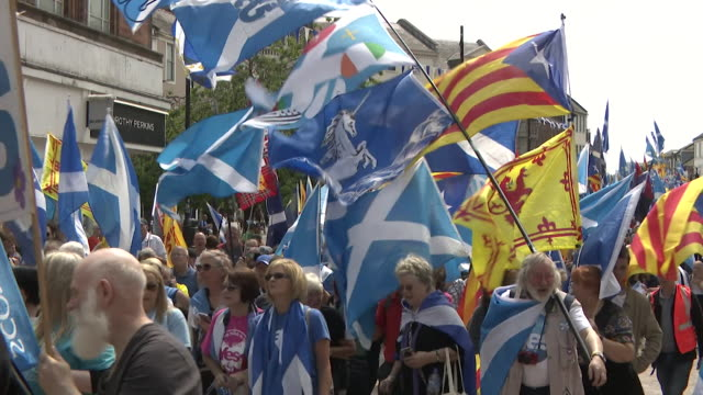 sequence showing scottish independence campaigners at a rally in aberdeen - scottish culture stock videos & royalty-free footage