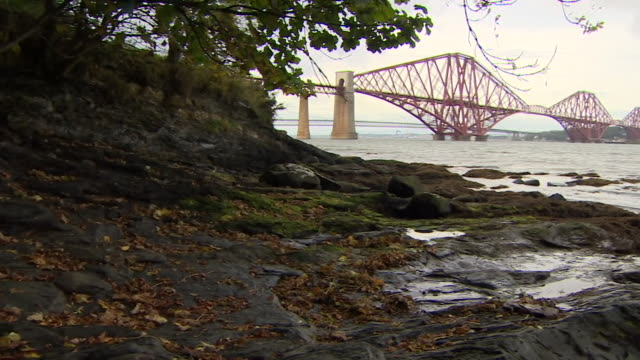sequence showing shale rock on the shores of the firth of forth - fluss firth of forth stock-videos und b-roll-filmmaterial