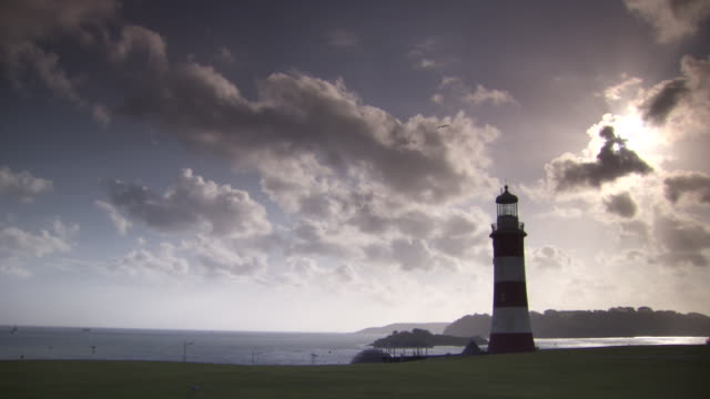 sequence showing smeaton's tower in devon, uk. - english channel stock videos and b-roll footage