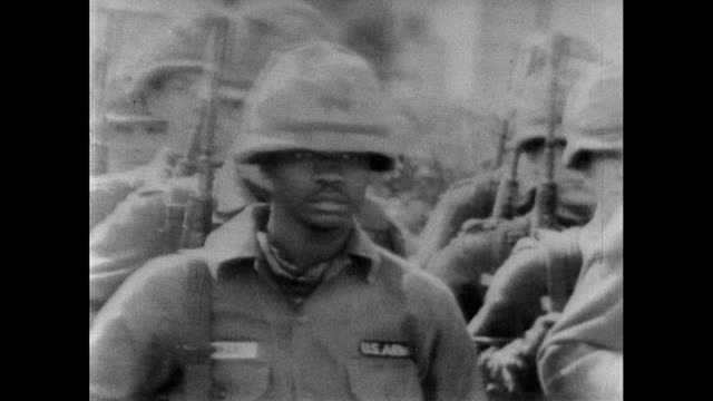 sequence showing soldiers from the alabama national guard preparing to protect and escort the selma to montgomery protest marchers 20th march 1965... - alabama us state stock videos & royalty-free footage