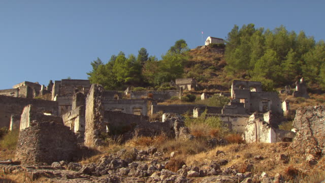 Sequence showing some of the derelict buildings in the historical monument village of Kayakoy.