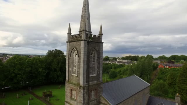 Sequence showing St. Mary's Church in Drogheda, site of Oliver Cromwell's entrance into the town in order to lay siege, Republic of Ireland.