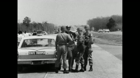 sequence showing the alabama national guard moving in to protect the selma marchers on their route from selma to montgomery; 24th march 1965.las up... - 1965 stock videos & royalty-free footage