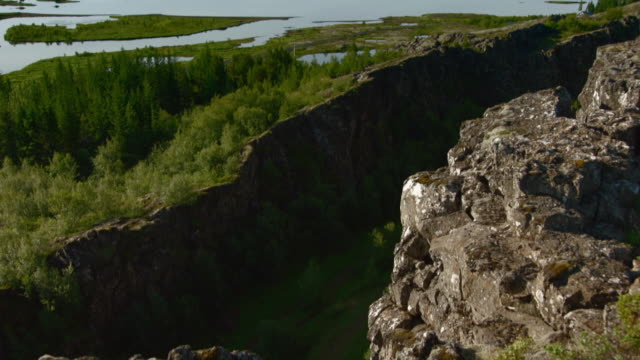 sequence showing the ancient natural amphitheatre althing on a fault line between two tectonic plates at thingvellir national park, iceland. - tectonic stock videos & royalty-free footage