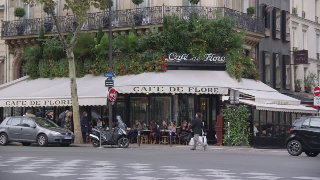 Sequence showing the Cafe de Flore in SaintGermaindesPrés Paris France rushes taken from bbccom/culture ABSA734N