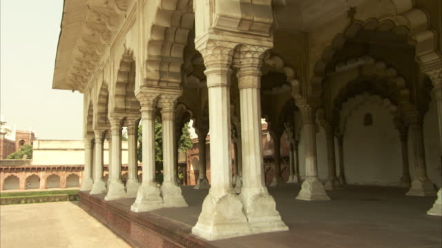Sequence showing the columns and arches of the Diwan-i-Am in Agra Fort, India.
