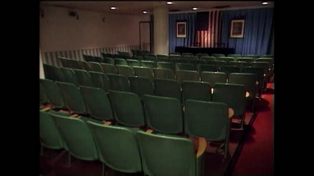 sequence showing the conference rooms inside secret nuclear bunker beneath a hotel in west virginia that were designed to house and protect the us... - weapons of mass destruction stock videos & royalty-free footage