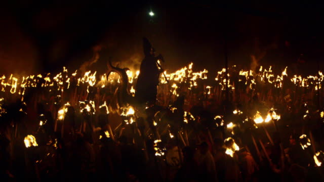 sequence showing the dramatic viking festival up helly aa in lerwick on the shetland islands, scotland, uk. - aggression stock videos & royalty-free footage