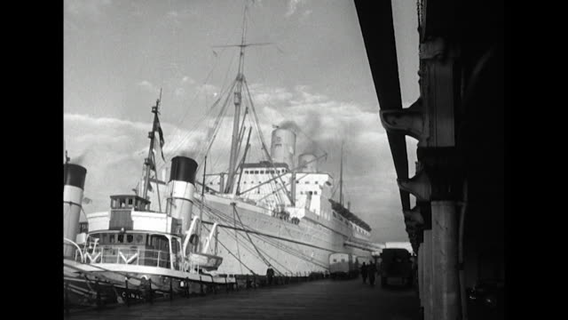 Sequence showing the 'Empress of Scotland' ocean liner moored at Liverpool docks