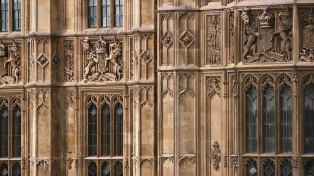 Sequence showing the exterior details of the Palace of Westminster.