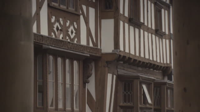Sequence showing the exterior of a timber-framed house in Ludlow in Shropshire, UK.