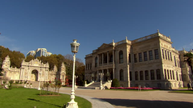 Sequence showing the exterior of the Dolmabahce Palace in Instanbul.