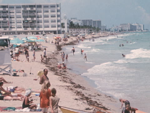 sequence showing the exteriors of various hotels on miami beach - miami stock videos & royalty-free footage