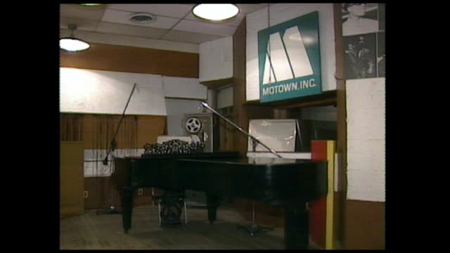 sequence showing the interior of motown recording studio with a piano microphones and sheet music 1986 - recording studio stock videos & royalty-free footage