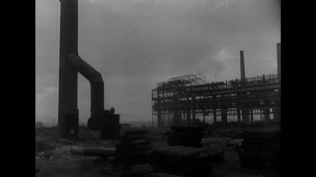 sequence showing the krupp mines and steel works in essen in operation - bbc archive stock-videos und b-roll-filmmaterial