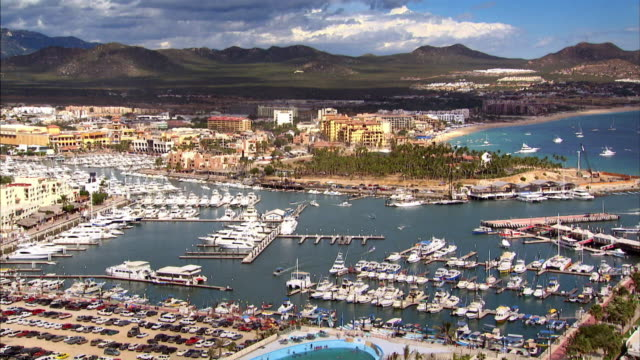 sequence showing the marina at cabo san lucas, baja california sur, mexico. - cabo san lucas stock videos & royalty-free footage