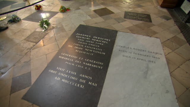 sequence showing the memorial plaque of stephen hawking alongside sir issac newton and charles darwin's plaque on the floor of westminster abbey - 見せる点の映像素材/bロール