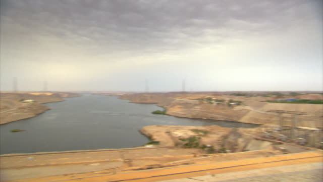 Sequence showing the mighty Aswan Dam in Egypt.