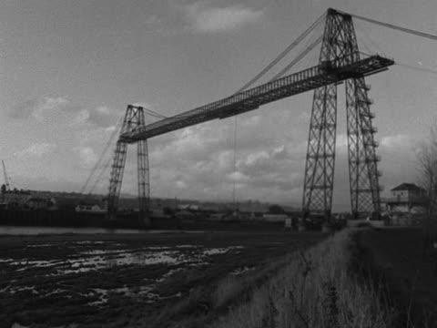 sequence showing the monmouth transporter bridge in operation - wales stock videos & royalty-free footage