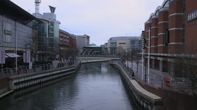 sequence showing the oracle shopping centre on the river kennet in reading, england, uk. - berkshire england stock videos & royalty-free footage
