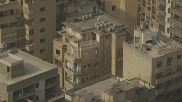 Sequence showing the rooftops of modern residential buildings in Beirut, Lebanon.