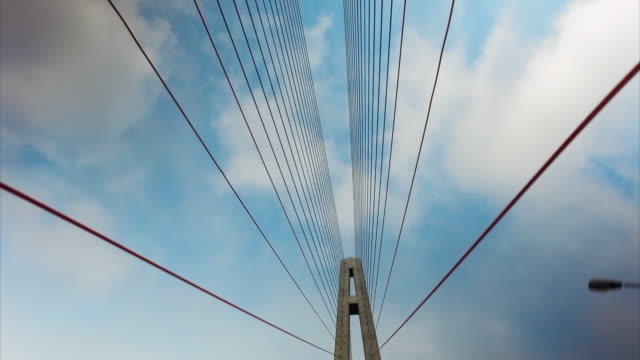 sequence showing the russky bridge in vladivostok, russia. - ponte video stock e b–roll