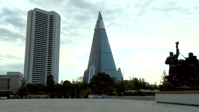 sequence showing the ryugyong hotel in pyongyang - pyongyang stock videos and b-roll footage