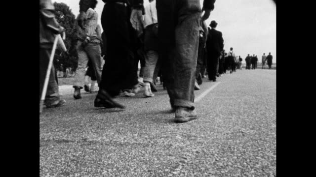 vídeos de stock, filmes e b-roll de sequence showing the selma to montgomery marchers walking along the highway; 24th march 1965. marchers walking towards and past camera including a... - 1965