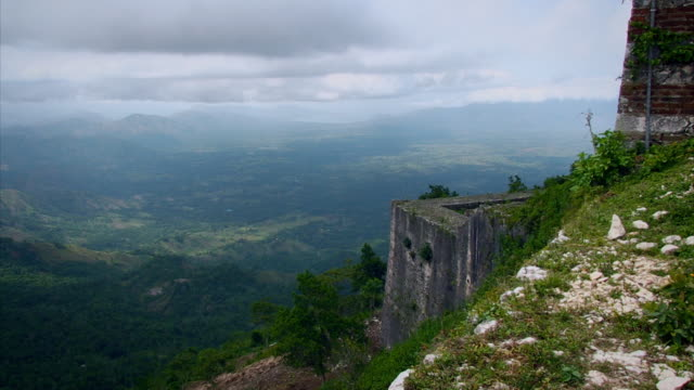Sequence showing the spectacular views of mountains and the Atlantic Ocean from the Citadelle Laferrière atop the Bonnet a L'Eveque mountain, Nord Department, Haiti.
