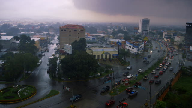 Sequence showing the streets of San Pedro Sula on a rainy day, Honduras.