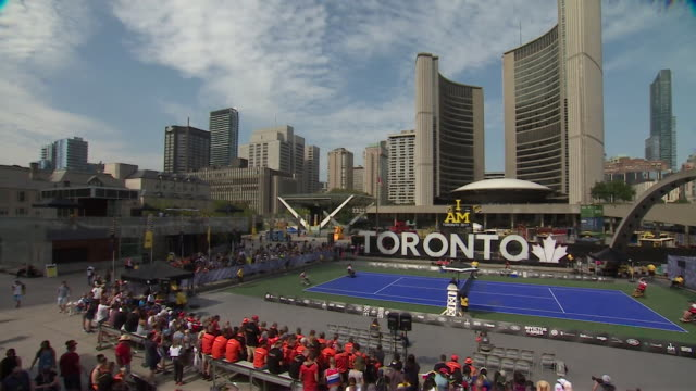 sequence showing the tennis venue for the invictus games for injured servicemen and women in toronto canada nnby326h absa627d - town hall stock videos & royalty-free footage