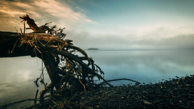 Sequence showing time-lapses of a dramatic skies over water in Iceland.