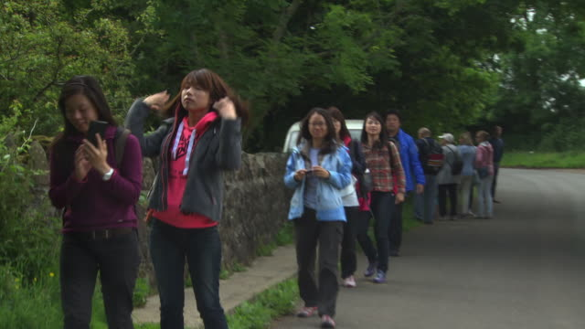 Sequence showing tourists visiting 'Game of Thrones' location the Dark Hedges (Bregagh Road), County Antrim, Northern Ireland.