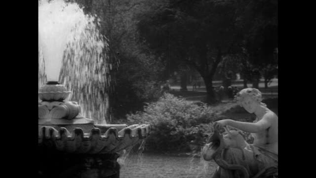 sequence showing various fountains in london's kensington gardens. - fountain stock videos & royalty-free footage