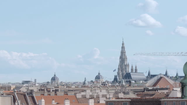 sequence showing vienna's skyline in the sunshine, austria. - schwenk stock-videos und b-roll-filmmaterial