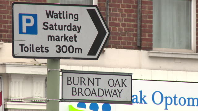 Sequence showing views of Burnt Oak Broadway in Greater London, UK.