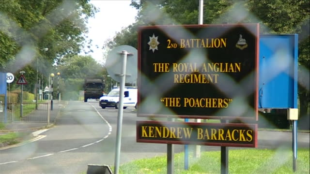 sequence showing views of kendrew barracks housing the 2nd battalion royal anglian regiment rutland uk nnbz112r absa627d - entrance sign stock videos & royalty-free footage