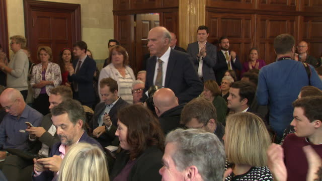 sequence showing vince cable arriving at a liberal democrat press conference in westminster - bbc video stock e b–roll
